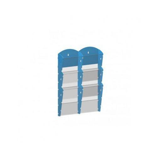 Plastikowy uchwyt ścienny na ulotki - 2x3 a4, niebieski marki B2b partner