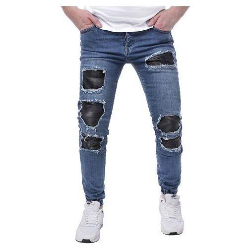 Spodnie jeansowe męskie joggery - a42 - niebieskie, jeansy