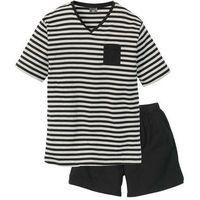 Piżama bonprix czarno-jasnoszary melanż w paski, 1 rozmiar