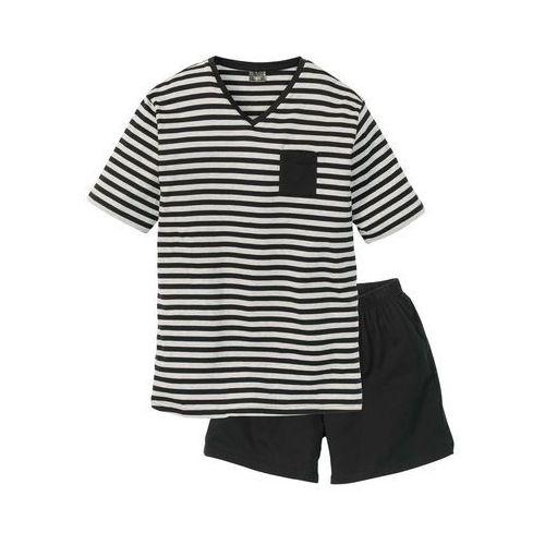Bonprix Piżama czarno-jasnoszary melanż w paski