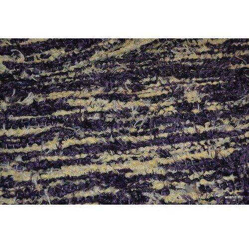 Twórczyni ludowa Chodnik bawełniany ręcznie tkany fioletowo-ecru 65x150 cm