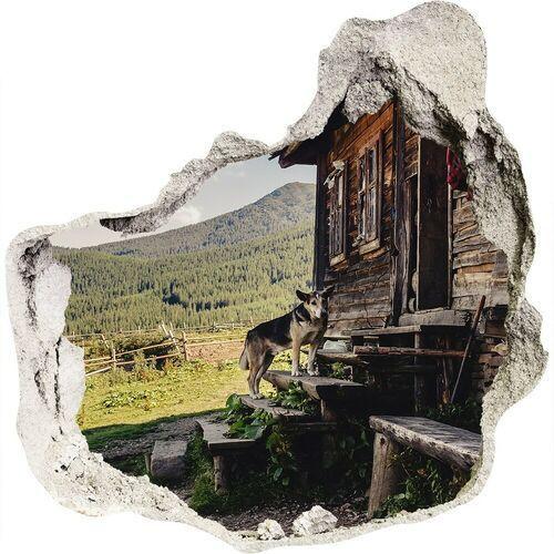 Dziura 3d w ścianie naklejka Drewniany dom góry