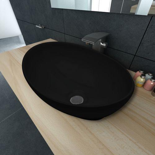 vidaXL Luksusowa umywalka owalny kształt 40 x 33 cm czarna