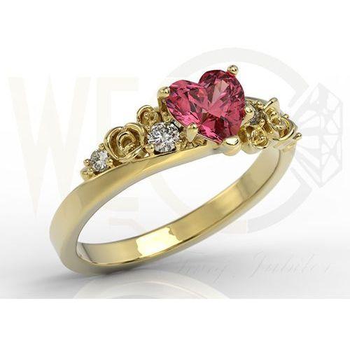 Pierścionek z żółtego złota z topazem swarovski red i diamentami ap-5312z marki Węc - twój jubiler