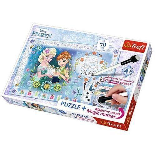 Trefl Puzzle plus 70 + magiczny mazak kraina lodu urodziny anny