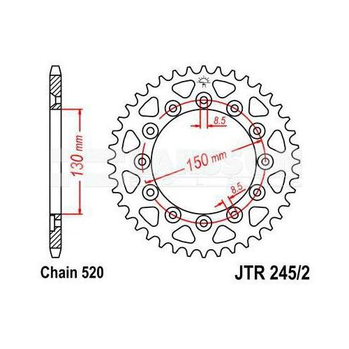 Zębatka tylna stalowa JT 245/2-41, 41Z, rozmiar 520 2300171 Honda XL 350, CL 250