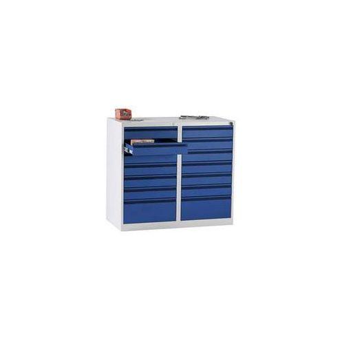 Szafka szufladowa, stal, wys. x szer. x głęb. 900x1000x500 mm, 14 szuflad, kolor