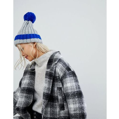 D ribbed hat with faux pom and contrast tipping in electric blue - grey marki Brave soul