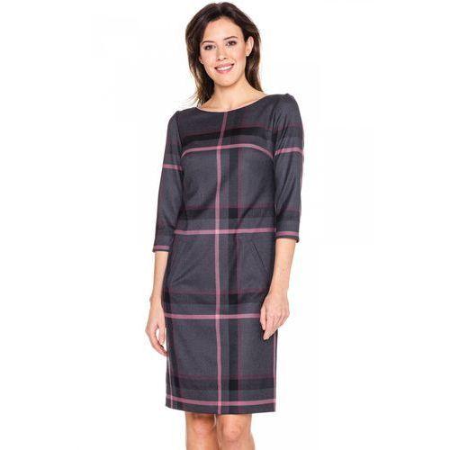 Sukienka w szeroką szaro-różową kratę - GaPa Fashion
