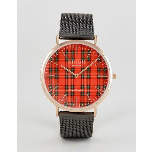 Reclaimed Vintage Inspired Tartan Mesh Watch In Black Exclusive to ASOS - Black