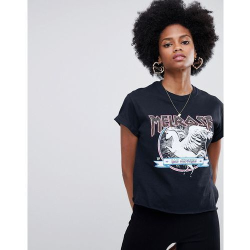 Miss selfridge slogan t-shirt with horse motif in black - black