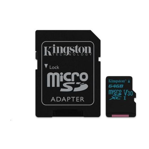 Kingston karta pamięci 64GB Canvas Go! micro SDXC UHS-I U3 + ad (SDCG2/64GB)