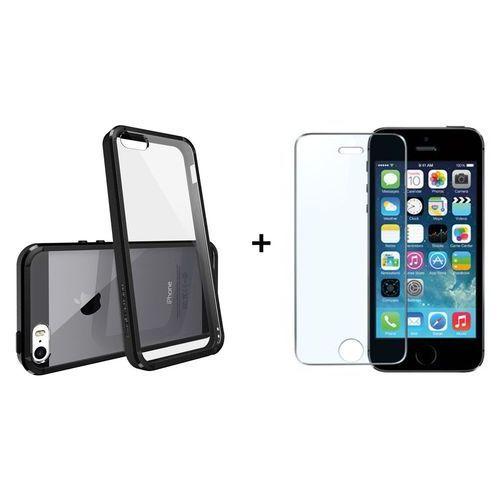 Zestaw | Rearth Ringke Fusion Black + Szkło ochronne | Etui dla Apple iPhone 5 / 5S / 5SE, kolor czarny