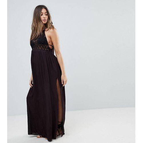 Asos design maternity premium crochet panel maxi beach dress - black, Asos maternity