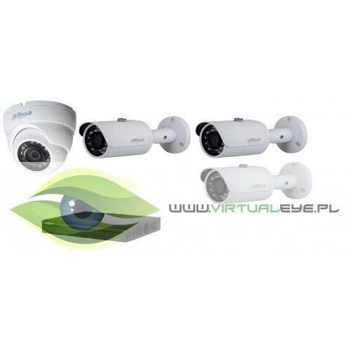 """Zestaw do monitoringu """" 2mp hdcvi"""", kamera hac-hdw1200m-0360b, 3x kamera dahua hac-hfw1200s-0360b, rejestrator dahua dhi-hcvr4104hs-s3, skrętka + 4 konwertery wyprodukowany przez Dahua"""