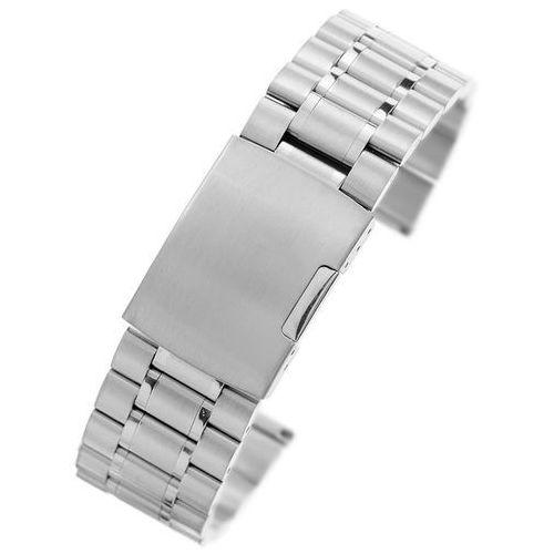 Srebrna stalowa bransoleta do zegarka SS2401- 24 mm, kolor szary