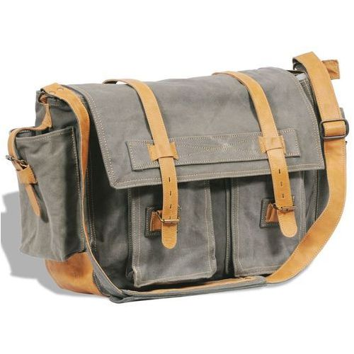 płócienno-skórzana torba listonoszka na ramię, oliwkowa marki Vidaxl