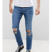 Mennace Relaxed Muscle Fit Skinny Cropped Jeans With Rips and Raw Hem In Mid Wash - Blue, jeans