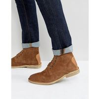 desert boots in tan suede with leather detail - wide fit available - tan marki Asos