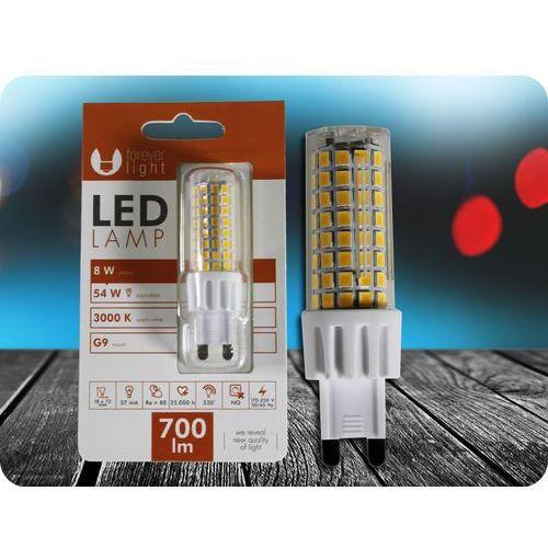 Forever light G9 led żarówka 8w (700lm) + bezpłatna natychmiastowa gwarancja wymiany! ciepła biała 3000k