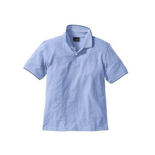 Bonprix Shirt polo w delikatny wzór regular fit  kobaltowy w kropki