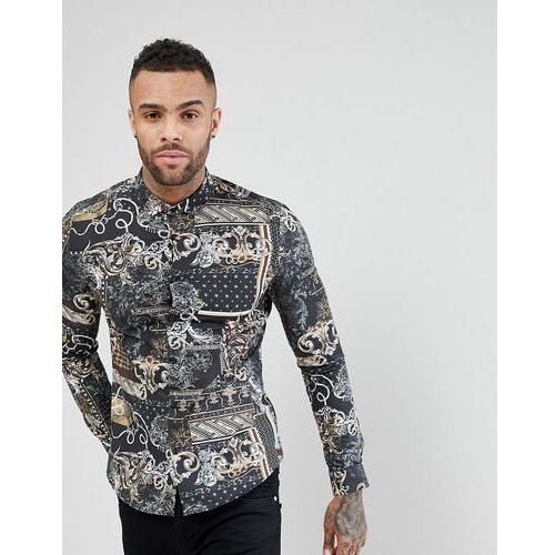 River Island Slim Fit Shirt With Baroque Print In Black And Gold - Black, 1 rozmiar