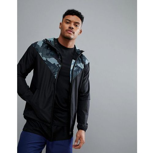 sport jacket with camo panel and hood in black - black, New look