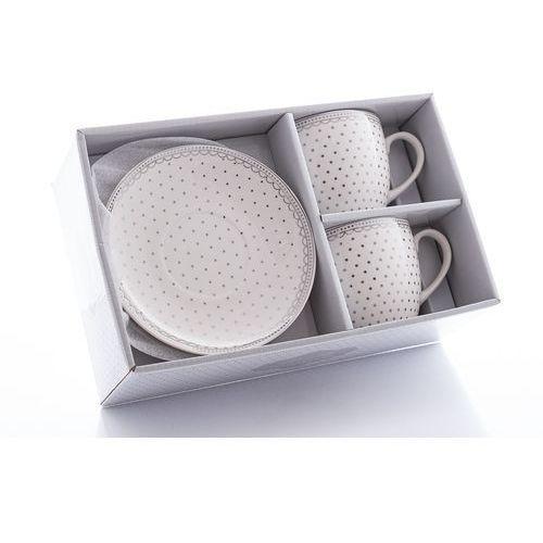 Livello 2 filiżanki z porcelany groszki srebrne na prezent