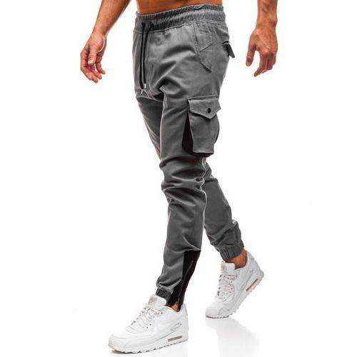 Spodnie męskie joggery bojówki szare Denley 0705, bojówki