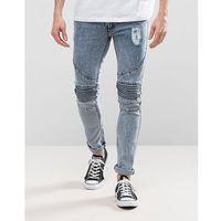 Loyalty and Faith Landon Skinny Fit Biker Jeans in Blue Acid Wash - Blue