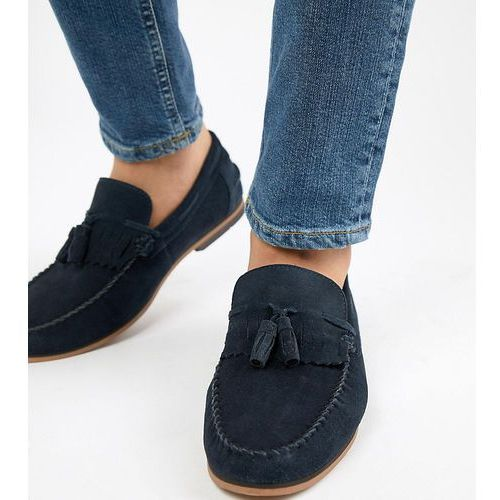design wide fit tassel loafers in navy suede with fringe and natural sole - navy, Asos
