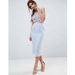 lace pencil midi dress with frill pinny bodice - blue, Asos