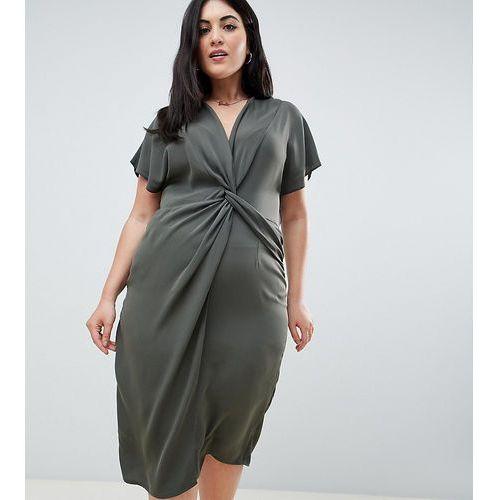 ASOS DESIGN Curve twist midi dress with kimono sleeve - Green, kolor zielony