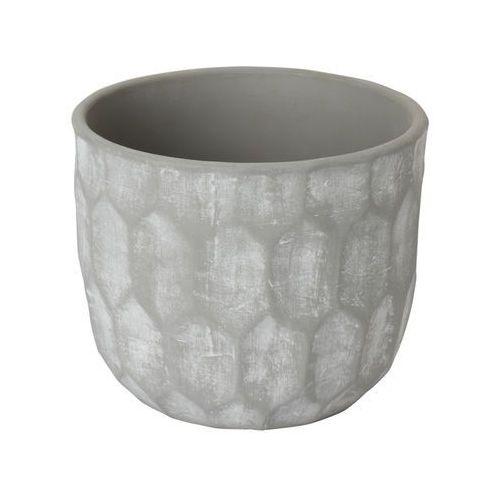 Goodhome Doniczka ceramiczna ozdobna 17 cm geo grey