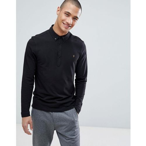 merriweather slim fit long sleeve pique polo shirt in black - black marki Farah