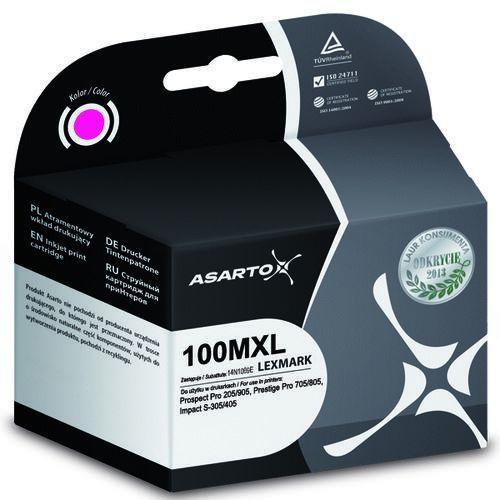 Tusz Asarto 100XL do Lexmark Pro205 Pro905 S301/405 magenta 14ml