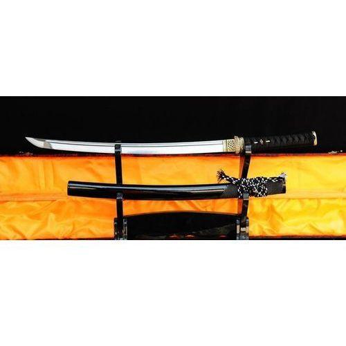 MIECZ SAMURAJSKI WAKIZASHI DO TRENINGU, STAL WYSOKOWĘGLOWA 1095 WARSTWOWANA DAMASCEŃSKA, R324