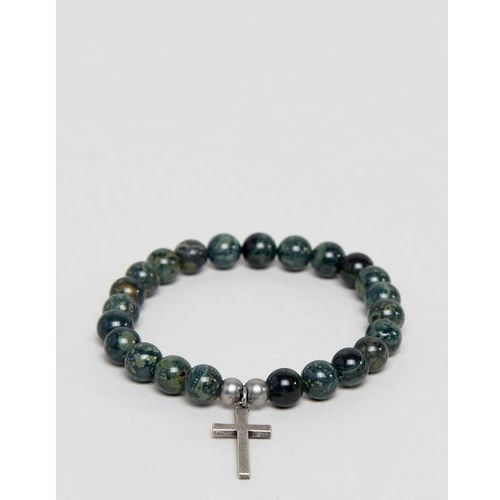 green beaded bracelet with cross charm - green marki Seven london