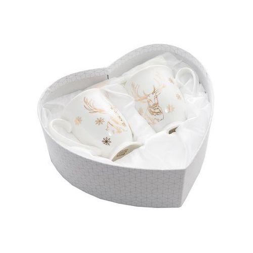2 kubki na prezent z porcelany renifery na święta marki Queen isabell