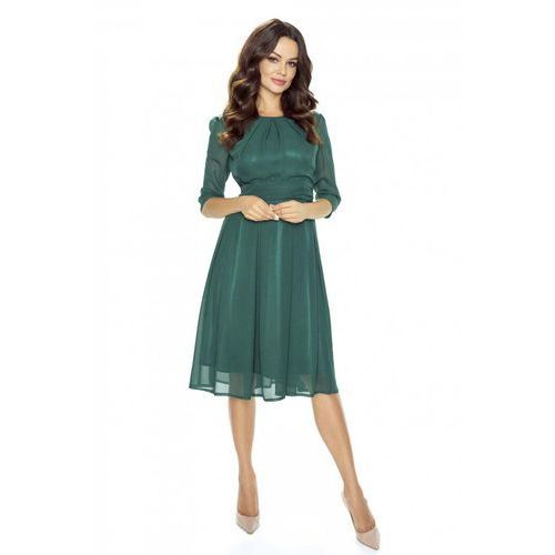 OKAZJA - Wieczorowa Zielona Sukienka Szerokim Dołem, wieczorowa