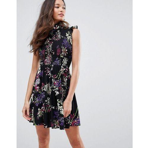 Qed london high neck floral skater dress - black