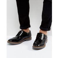 Base London Turner Leather Hi Shine Brogue Shoes In Black - Black