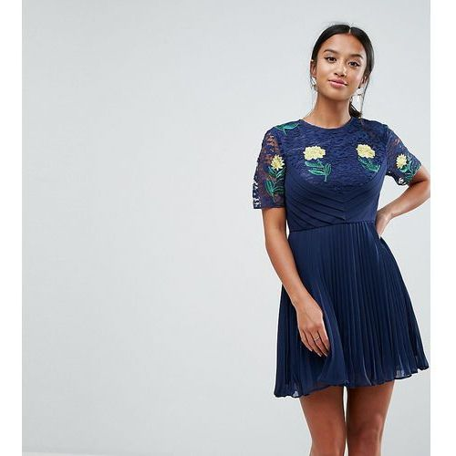 ASOS PETITE Embroidered Mini Pleat and Lace Dress - Navy, kolor niebieski