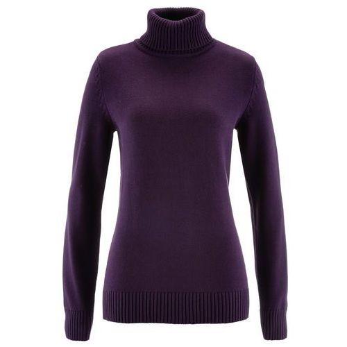 Sweter z golfem bonprix ciemny lila, w 8 rozmiarach
