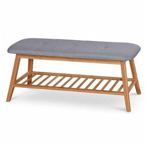 Drewniana ławka z półką na obuwie laosa 100 cm - popiel marki Producent: elior