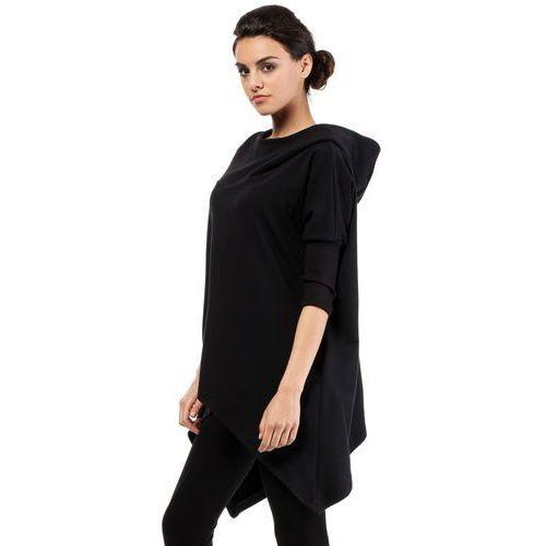 Asymetryczna peleryna, ponczo z kapturem czarne MOE207, kolor czarny