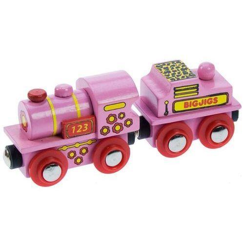 Różowa lokomotywa 123 do zabawy, wyposażenie kolejek drewnianych bigjigs marki Bigjigs toys