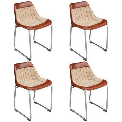 Vidaxl krzesła do jadalni 4 szt. prawdziwa skóra i płótno, brąz beż (8718475551461)