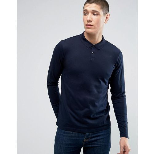Jack & Jones Premium Long Sleeve Polo in Texture - Navy