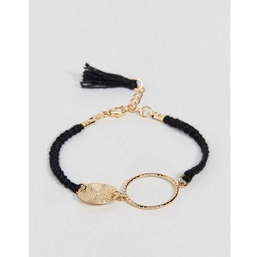 ASOS DESIGN rope bracelet with mixed ring details in black - Black, kolor czarny